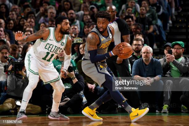 Wesley Matthews of the Indiana Pacers handles the ball during the game against the Boston Celtics on March 29 2019 at the TD Garden in Boston...