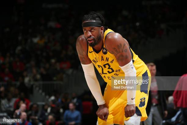 Wesley Matthews of the Indiana Pacers looks on during the game against the Washington Wizards on February 23 2019 at Capital One Arena in Washington...