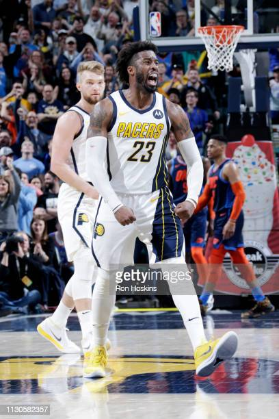 Wesley Matthews of the Indiana Pacers reacts against the Oklahoma City Thunder on March 14 2019 at Bankers Life Fieldhouse in Indianapolis Indiana...