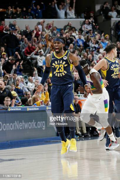 Wesley Matthews of the Indiana Pacers reacts to made three point basket against the New Orleans Pelicans on February 22 2019 at Bankers Life...