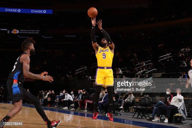 Wesley Matthews of the Los Angeles Lakers shoots a three point basket during the game against the New York Knicks on April 12, 2021 at Madison Square...