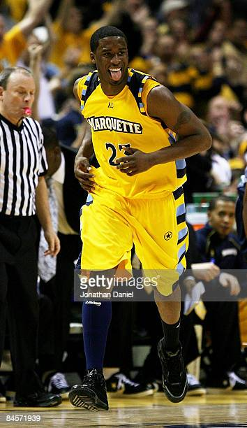Wesley Matthews of the Marquette Golden Eagles smiles and sticks out his tongue after hitting a shot against the Georgetown Hoyas on January 31, 2009...