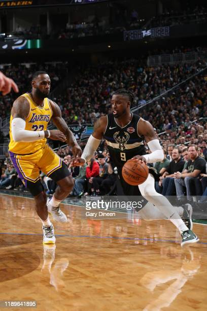 Wesley Matthews of the Milwaukee Bucks handles the ball against the Los Angeles Lakers on December 19 2019 at the Fiserv Forum Center in Milwaukee...