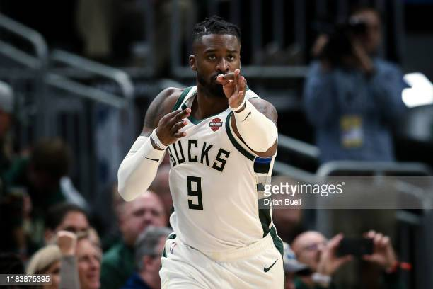 Wesley Matthews of the Milwaukee Bucks reacts in the fourth quarter against the Miami Heat at the Fiserv Forum on October 26 2019 in Milwaukee...