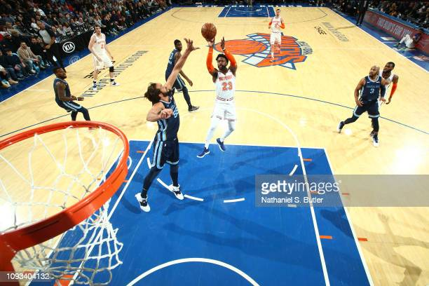 Wesley Matthews of the New York Knicks shoots mid range jumper against the Memphis Grizzlies on February 3 2019 at Madison Square Garden in New York...