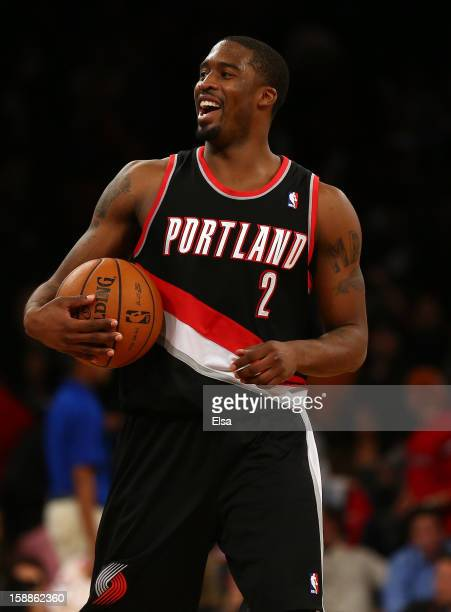 Wesley Matthews of the Portland Trail Blazers celebrates the win over the New York Knicks on January 1 2013 at Madison Square Garden in New York City...