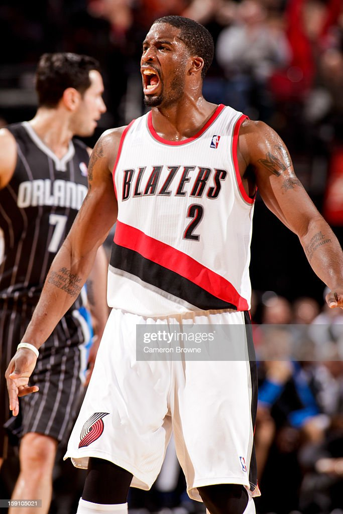 Wesley Matthews #2 of the Portland Trail Blazers celebrates while playing the Orlando Magic on January 7, 2013 at the Rose Garden Arena in Portland, Oregon.
