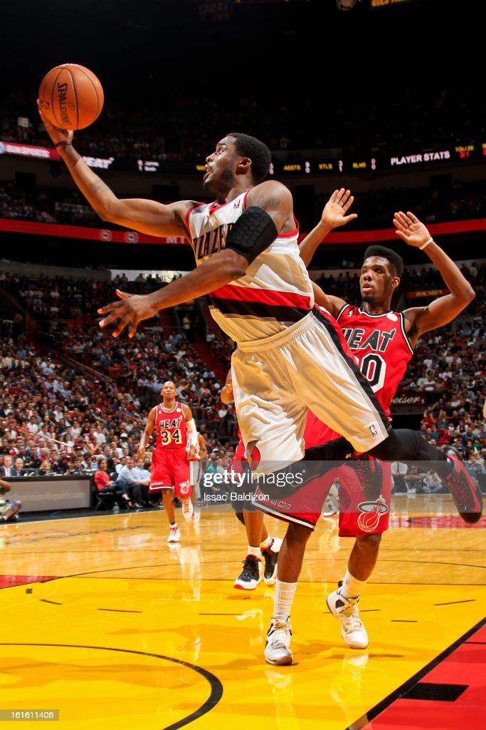 Wesley Matthews #2 of the Portland Trail Blazers drives to the basket against Norris Cole #30 of the Miami Heat on February 12, 2013 at American Airlines Arena in Miami, Florida.
