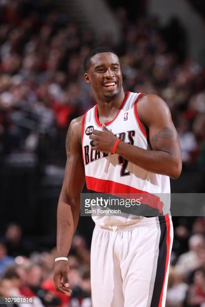 Wesley Matthews of the Portland Trail Blazers enjoys the game during a game against the Miami Heat on January 9 2011 at the Rose Garden Arena in...