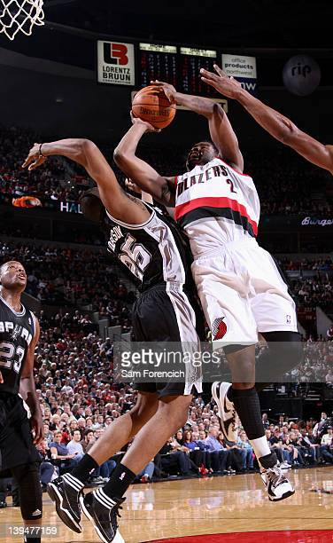 Wesley Matthews of the Portland Trail Blazers goes to the basket against James Anderson of the San Antonio Spurs during the game on February 21 2012...