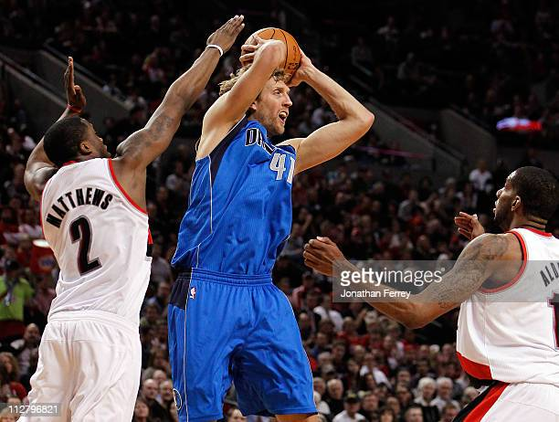 Wesley Matthews of the Portland Trail Blazers guards Dirk Nowitzki of the Dallas Mavericks in Game Three of the Western Conference Quarterfinals in...