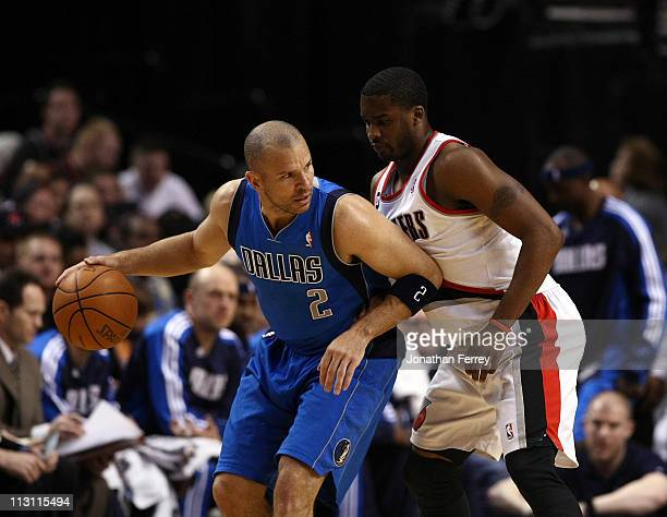 Wesley Matthews of the Portland Trail Blazers guards Jason Kidd of the Dallas Mavericks in Game Four of the Western Conference Quarterfinals in the...