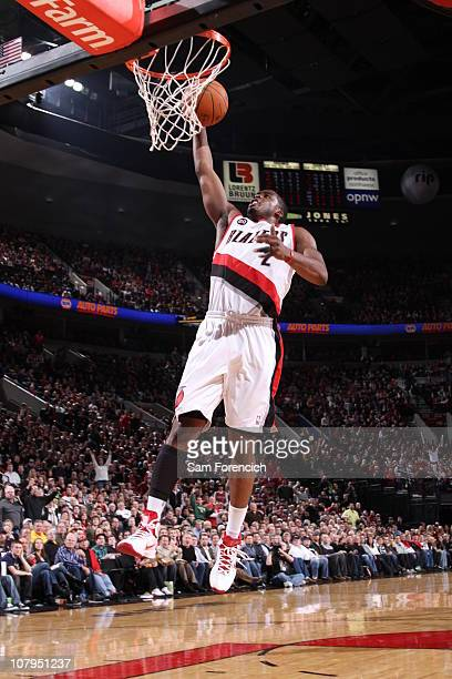 Wesley Matthews of the Portland Trail Blazers takes a shot during a game against the Miami Heat on January 9 2011 at the Rose Garden Arena in...