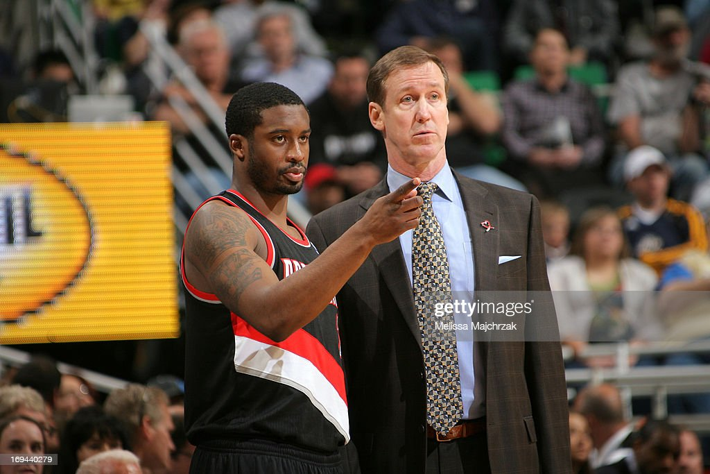 Wesley Matthews #2 of the Portland Trail Blazers talks with Head Coach Terry Stotts during the game against the Utah Jazz at Energy Solutions Arena on April 1, 2013 in Salt Lake City, Utah.