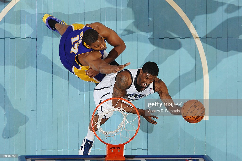 Wesley Matthews of the Utah Jazz goes to the basket against Andrew Bynum of the Los Angeles Lakers in Game Four of the Western Conference Semifinals during the 2010 NBA Playoffs at the EnergySolutions Arena on May 10, 2010 in Salt Lake City, Utah.