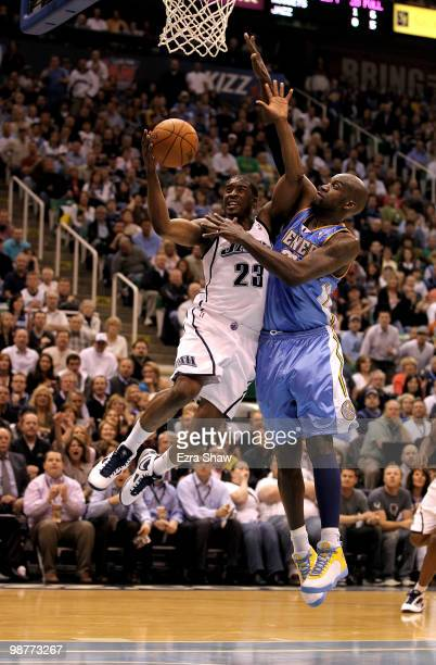 Wesley Matthews of the Utah Jazz is fouled by Johan Petro of the Denver Nuggets during Game Six of the Western Conference Quarterfinals of the 2010...
