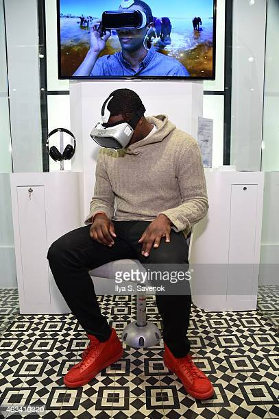 Wesley Matthews visits the Samsung Galaxy Studio during NBA All Star 2015 on February 13 2015 in New York City