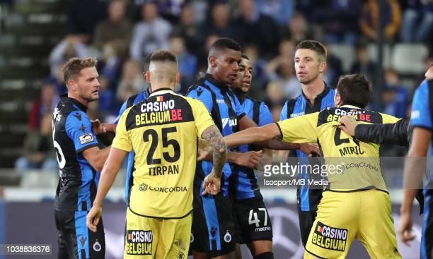 Wesley Moraes and Marko Miric react during the Jupiler Pro League match between Club Brugge and KSC Lokeren OV at Jan Breydel Stadium on September 14...