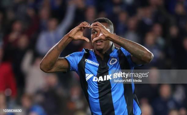 Wesley Moraes celebrates after scoring a goal during the Jupiler Pro League match between Club Brugge and KSC Lokeren OV at Jan Breydel Stadium on...