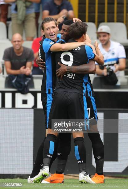 Wesley Moraes celebrates with Hans Vanaken and Jelle Vossen after scoring a goal during the Jupiler Pro League match between Club Brugge and KAS...