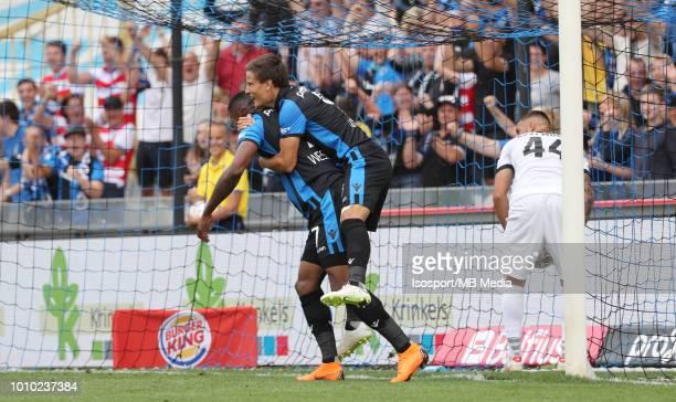 Wesley Moraes celebrates with Jelle Vossen after scoring a goal during the Jupiler Pro League match between Club Brugge and KAS Eupen at Jan Breydel...