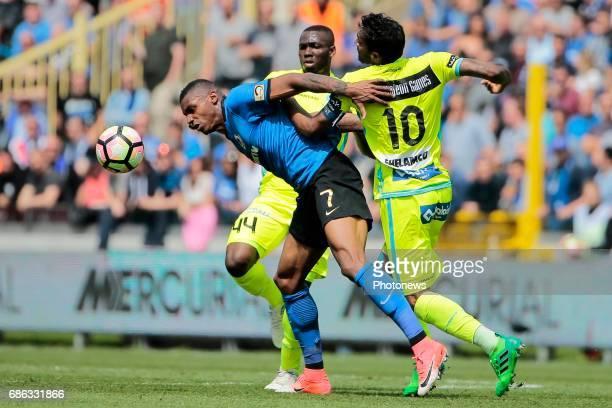 Wesley Moraes Ferreira Da Silva forward of Club Brugge in action with Renato Neto midfielder of KAA Gent and Anderson Esiti midfielder of KAA Gent...