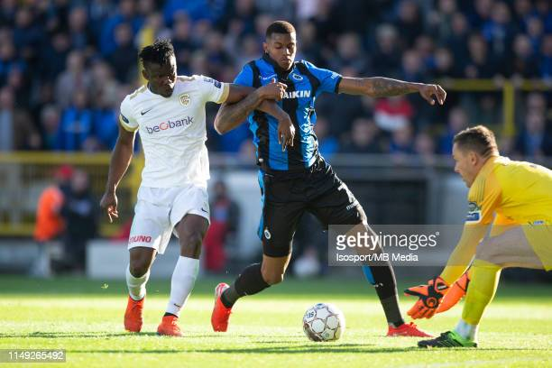 Wesley Moraes of Club Brugge and Joseph Aidoo of Genk fight for the ball during the Jupiler Pro League playoff 1 match between Club Brugge and Krc...