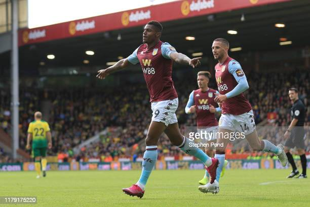 Wesley of Aston Villa celbrates after scoring his sides first goal during the Premier League match between Norwich City and Aston Villa at Carrow...