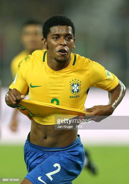 Wesley of Brazil celebrates scoring his teams first goal during the FIFA U17 World Cup India 2017 Semi Final match between Brazil and England at...