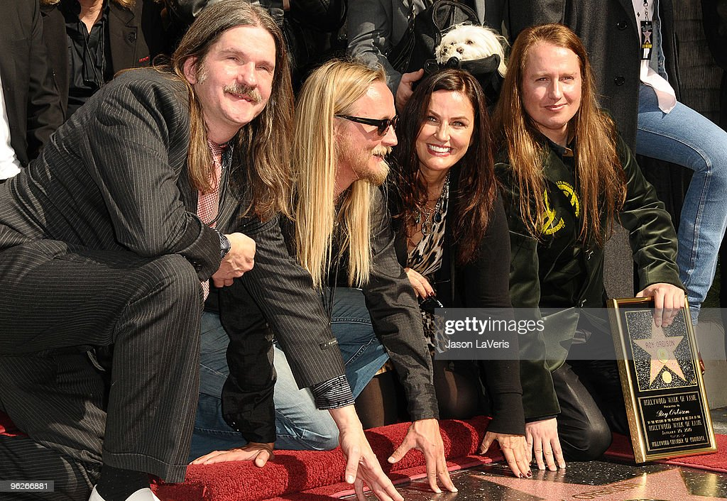 Wesley Orbison, Alex Orbison, Barbara Orbison and Roy Orbison Jr attend Roy Orbison's induction into the Hollywood Walk Of Fame on January 29, 2010 in Hollywood, California.