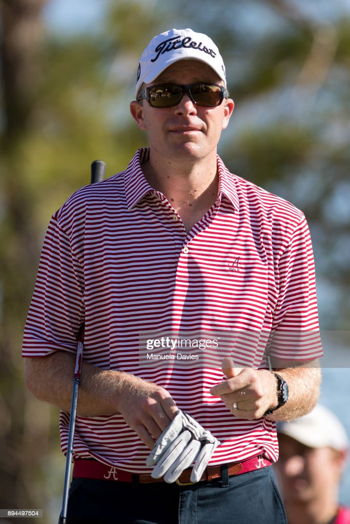 Wesley Pate waits to hit a tee shot on the first tee during the final round of the PNC Father/Son Challenge at The Ritz-Carlton Golf Club on December 17, 2017 in Orlando, Florida.