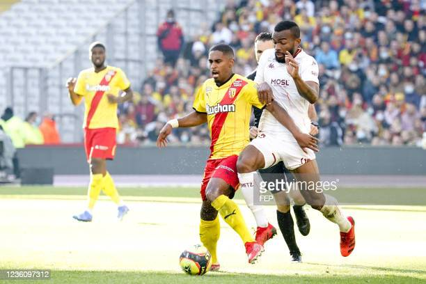 Wesley SAID - 19 Habib MAIGA during the Ligue 1 Uber Eats match between Lens and Metz at Stade Bollaert-Delelis on October 24, 2021 in Lens, France.