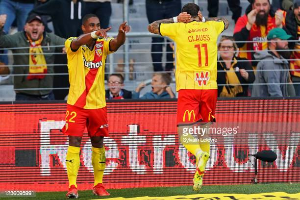 Wesley Said of RC Lens celebrates after scoring his team's 2nd goal during the Ligue 1 Uber Eats match between RC Lens and FC Metz at Stade...