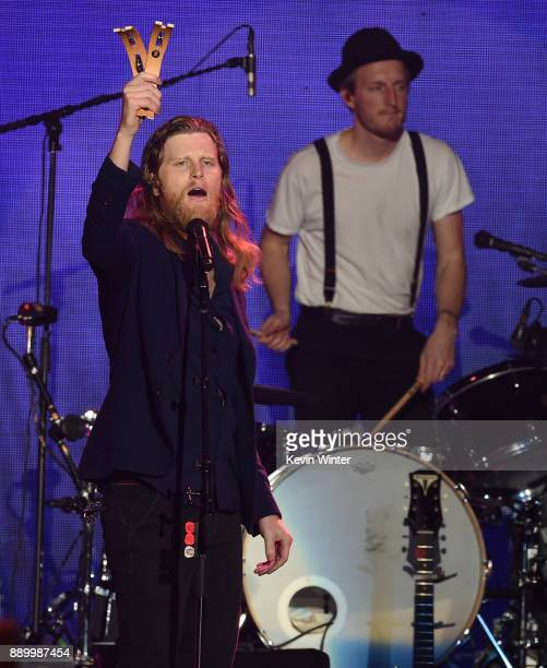 Wesley Schultz and Jeremiah Fraites of The Lumineers perform onstage during KROQ Almost Acoustic Christmas 2017 at The Forum on December 10 2017 in...