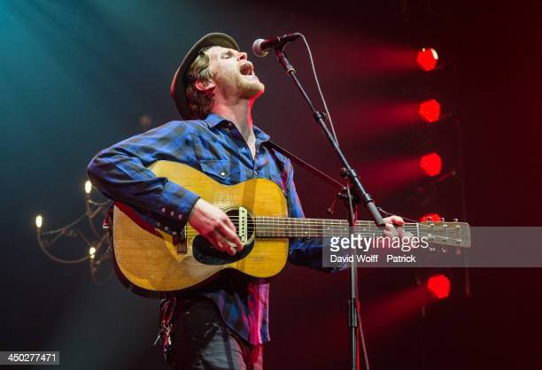 Wesley Schultz from The Lumineers performs at Le Zenith on November 17, 2013 in Paris, France.