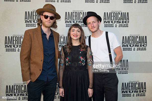 Wesley Schultz Neyla Pekarek and Jeremiah Caleb Fraites of The Lumineers attend the 2016 Americana Music Honors and Awards Show at Ryman Auditorium...