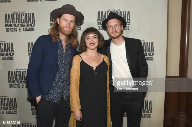 Wesley Schultz Neyla Pekarek and Jeremiah Caleb Fraites of The Lumineers attend the 2017 Americana Music Association Honors Awards on September 13...
