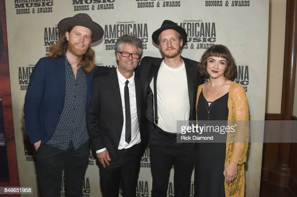 Wesley Schultz of The Lumineers Americana Music Association Executive Director Jed Hilly Jeremiah Caleb Fraites and Neyla Pekarek of The Lumineers...