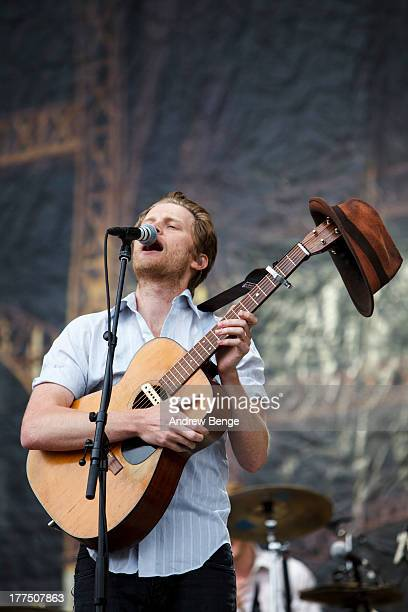 Wesley Schultz of The Lumineers performs on stage on Day 1 of Leeds Festival 2013 at Bramham Park on August 23, 2013 in Leeds, England.