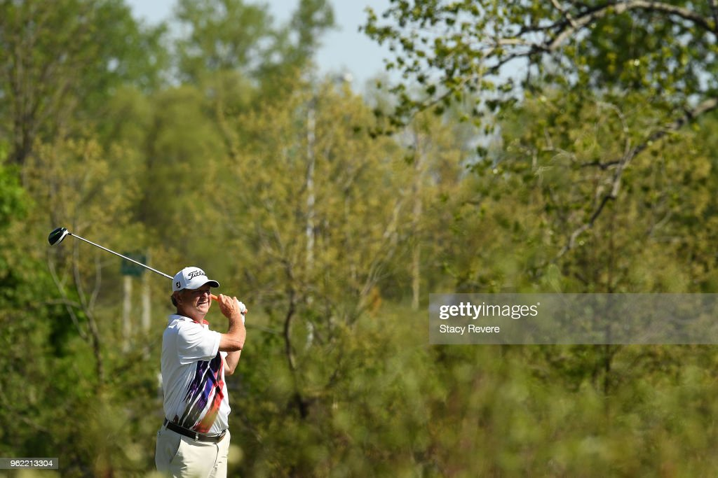 Wesley Short Jr. hits his tee shot on the seventh hole during the first round of the Senior PGA Championship presented by KitchenAid at the Golf Club at Harbor Shores on May 24, 2018 in Benton Harbor, Michigan.