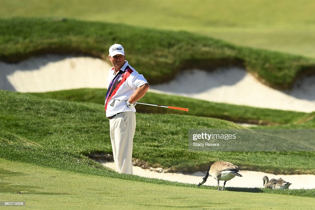 Wesley Short Jr. waits to hit his second shot on the seventh hole during the first round of the Senior PGA Championship presented by KitchenAid at the Golf Club at Harbor Shores on May 24, 2018 in Benton Harbor, Michigan.