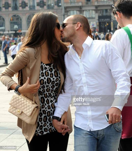 Wesley Sneijder and Yolanthe Cabau Van Kasbergen are seen on September 23 2010 in Milan Italy