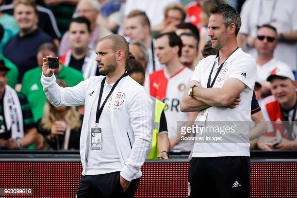 Wesley Sneijder Andre Ooijer during the Dirk Kuyt Testimonial at the Feyenoord Stadium on May 27 2018 in Rotterdam Netherlands