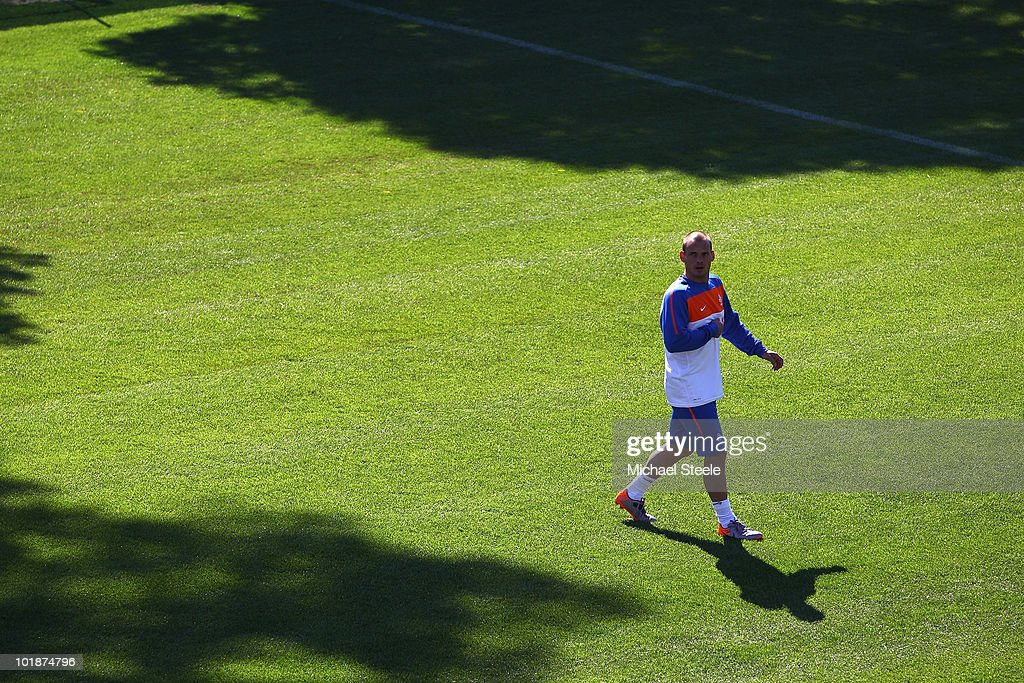 Wesley Sneijder during a Netherlands training session at the Wits Rugby Stadium on June 8, 2010 in Johannesburg, South Africa.