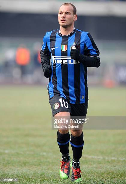 Wesley Sneijder of FC Inter Milan during the Serie A match between AC Chievo Verona and FC Inter Milan at Stadio Marc'Antonio Bentegodi on January 6...
