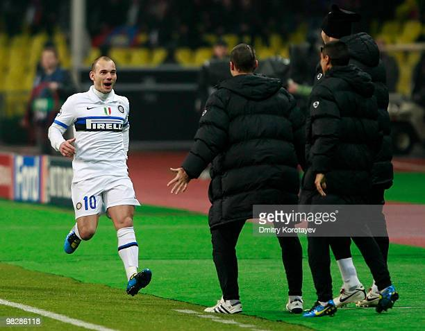 Wesley Sneijder of FC Internazionale Milano celebrates after scoring a goal during the UEFA Champions League Quarter Finals, Second Leg match between...