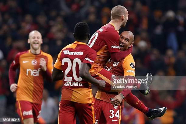Wesley Sneijder of Galatasaray celebrates after scoring a goal during the Turkish Spor Toto Super Lig football match between Galatasaray and Aytemiz...