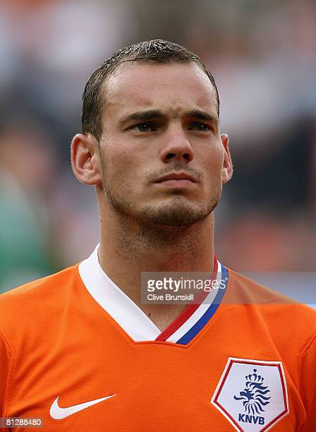Wesley Sneijder of Holland during the national anthem prior to the International friendly match between Holland and Denmark at the Phillips Stadium...
