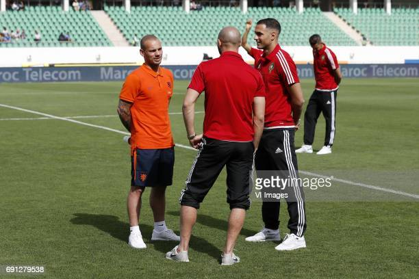 Wesley Sneijder of Holland Nordin Amrabat of Morocco Sofyan Amrabat of Moroccoduring the friendly match between Morocco and The Netherlands at Grand...
