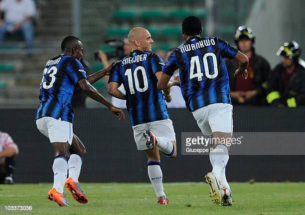 Wesley Sneijder of Inter celebrates after scoring the opening goal during the TIM preseason tournament at Stadio San Nicola on August 13, 2010 in...
